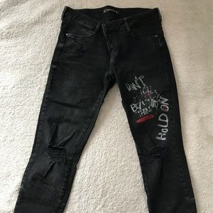 Zara Trafaluc black jeans with Piercings